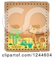 Clipart Of A Camel In A Desert On A Parchment Page Royalty Free Vector Illustration