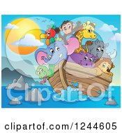 Clipart Of Cute Happy Animals On Noahs Ark At Sunset Royalty Free Vector Illustration by visekart