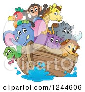 Clipart Of Cute Happy Animals On Noahs Ark Royalty Free Vector Illustration by visekart