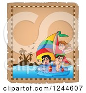 Clipart Of A Parchment Page With Sailing Children Royalty Free Vector Illustration by visekart