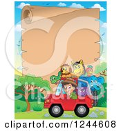 Clipart Of A Happy Safari Boy Driving A Jeep Full Of Animals Over A Parchment Page Royalty Free Vector Illustration by visekart