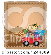Clipart Of A Happy Safari Boy Driving A Jeep Full Of Animals On A Parchment Page Royalty Free Vector Illustration by visekart