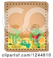 Clipart Of A Sheriff Cactus In The Desert On A Parchment Page Royalty Free Vector Illustration by visekart