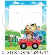Clipart Of A Happy Safari Boy Driving A Jeep Full Of Animals Over Text Space Royalty Free Vector Illustration by visekart
