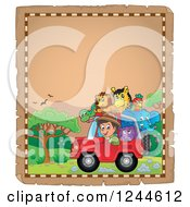 Clipart Of A Happy Safari Boy Driving A Jeep Full Of Animals On A Parchment Page 2 Royalty Free Vector Illustration by visekart