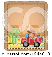 Clipart Of A Happy Boy Driving A Jeep On A Parchment Page Royalty Free Vector Illustration by visekart