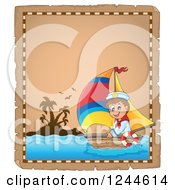 Clipart Of A Parchment Page With A Sailing Boy Royalty Free Vector Illustration by visekart