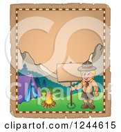 Clipart Of A Happy Camping Boy Scout By A Sign On An Old Parchment Page Royalty Free Vector Illustration by visekart