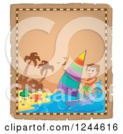 Clipart Of A Parchment Page With A Windsurfing Boy Royalty Free Vector Illustration by visekart