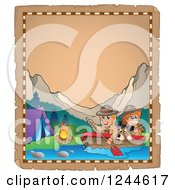 Clipart Of Happy Camping Scouts And Dog Rowing Down A River On An Old Parchment Page Royalty Free Vector Illustration by visekart