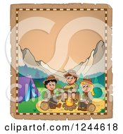 Clipart Of Happy Scouts Singing Around A Camp Fire On An Old Parchment Page Royalty Free Vector Illustration by visekart