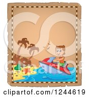 Clipart Of A Parchment Page With A Jetskiing Boy Royalty Free Vector Illustration