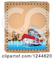 Clipart Of A Cruise Ship On A Parchment Page Royalty Free Vector Illustration