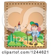 Clipart Of A Happy Man Hiking To A Castle On A Parchment Page Royalty Free Vector Illustration by visekart