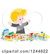 Clipart Of A Blond Caucasian School Boy Displaying All Of His Supplies Royalty Free Vector Illustration