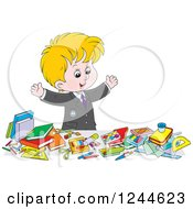 Clipart Of A Blond School Boy Displaying All Of His Supplies Royalty Free Vector Illustration by Alex Bannykh