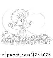 Clipart Of A Black And White School Boy Displaying All Of His Supplies Royalty Free Vector Illustration