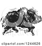 Clipart Of A Black And White Woodcut Running Boar Royalty Free Vector Illustration