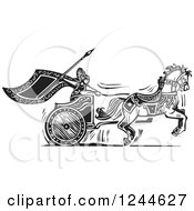 Clipart Of A Black And White Woodcut Charging Viking Valkyrie And Horse Chariot Royalty Free Vector Illustration