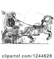 Clipart Of A Black And White Woodcut Viking Valkyrie And Horse Chariot Royalty Free Vector Illustration