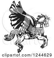 Clipart Of A Black And White Woodcut Winged Pegasus Horse Flying Royalty Free Vector Illustration