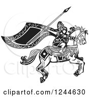 Clipart Of A Black And White Woodcut Charging Horseback Viking Valkyrie Royalty Free Vector Illustration