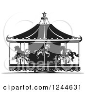 Clipart Of A Black And White Woodcut Carousel With Horses Royalty Free Vector Illustration