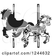 Clipart Of Black And White Woodcut Carousel Horses Royalty Free Vector Illustration