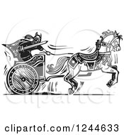 Clipart Of A Black And White Woodcut Charging Viking Man In A Horse Chariot Royalty Free Vector Illustration