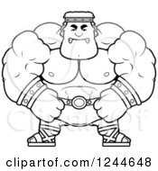 Clipart Of A Black And White Mad Brute Muscular Hercules Man Royalty Free Vector Illustration by Cory Thoman