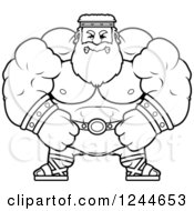 Clipart Of A Black And White Mad Brute Muscular Zeus Man Royalty Free Vector Illustration by Cory Thoman