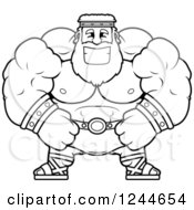 Clipart Of A Black And White Brute Muscular Zeus Man Grinning Royalty Free Vector Illustration by Cory Thoman