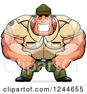 Clipart Of A Brute Muscular Drill Sergeant Man Grinning Royalty Free Vector Illustration