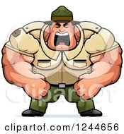 Clipart Of A Brute Muscular Drill Sergeant Man Shouting Royalty Free Vector Illustration