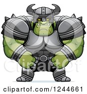Clipart Of A Brute Muscular Orc In Armor Royalty Free Vector Illustration