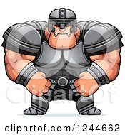 Clipart Of A Mad Brute Muscular Warrior Man Royalty Free Vector Illustration