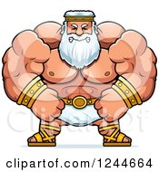 Clipart Of A Mad Brute Muscular Zeus Man Royalty Free Vector Illustration