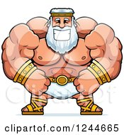 Clipart Of A Brute Muscular Zeus Man Grinning Royalty Free Vector Illustration by Cory Thoman