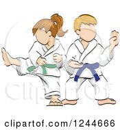 Sketched Girl And Boy In Karate