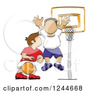 Clipart Of Sketched Boys Playing Basketball Royalty Free Vector Illustration