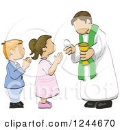 Clipart Of A Sketchd Kids First Communion Royalty Free Vector Illustration by David Rey