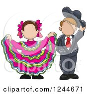Clipart Of Sketched Child Folk Dancers Royalty Free Vector Illustration