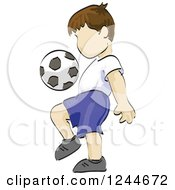 Clipart Of A Sketched Boy Kicking A Soccer Ball Royalty Free Vector Illustration