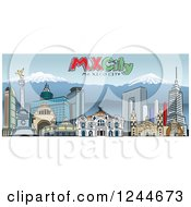 Clipart Of A Skyline Of Mexico City With Mountains And Text Royalty Free Vector Illustration