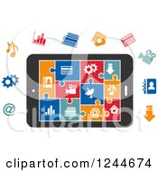 Clipart Of Colorful Multimedia Puzzle Piece Icons On A Smart Phone Royalty Free Vector Illustration