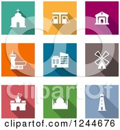 Clipart Of Colorful Landmark Icons Royalty Free Vector Illustration