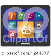 Clipart Of Colorful Security Icons On A Tablet Royalty Free Vector Illustration