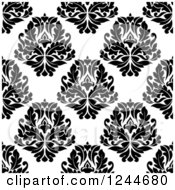 Clipart Of A Seamless Background Pattern Of Black And White Damask Floral 9 Royalty Free Vector Illustration