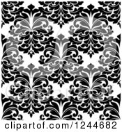 Clipart Of A Seamless Background Pattern Of Black And White Damask Floral 10 Royalty Free Vector Illustration