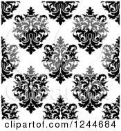 Clipart Of A Seamless Background Pattern Of Black And White Damask Floral 11 Royalty Free Vector Illustration